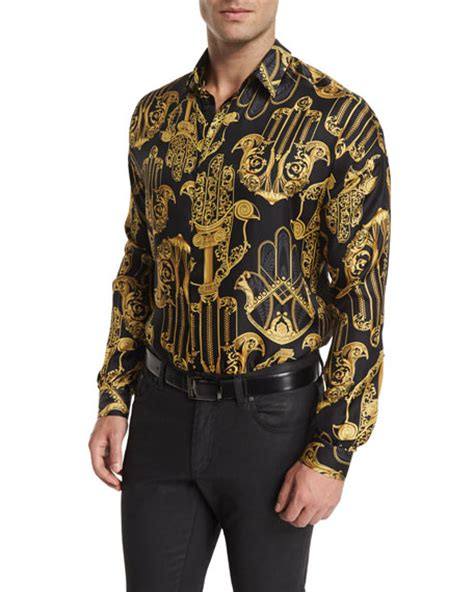 gold pattern shirt versace collection baroque pattern long sleeve shirt