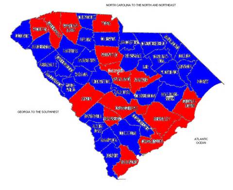 carolina voting map the solid south