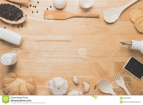 Kitchen Island With Cutting Board by Top View Kitchen Mockup Rural Kitchen Utensils On Wooden