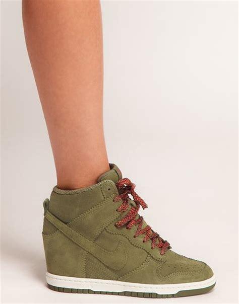 sky high wedge heels nike dunk sky high olive wedge trainers in khaki