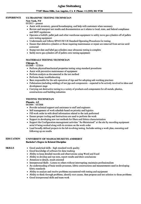 Testing Technician Resume Samples | Velvet Jobs