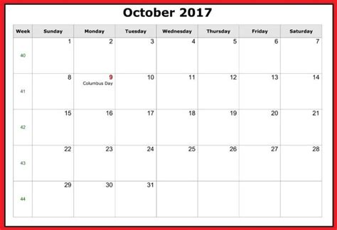 printable october 2017 calendar with notes free october calendar 2017 printable templates blank with