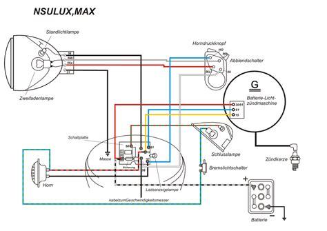 Ural Motorrad Schaltplan by Kabelbaum F 252 R Nsu Max Supermax Standard Mit Farbigen