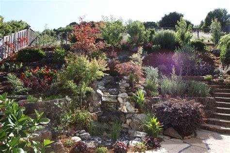 hillside garden patio landscape pinterest
