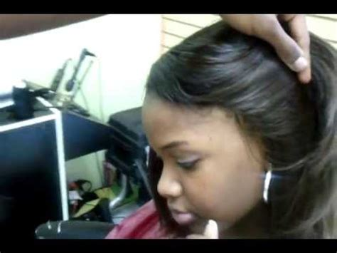 full sew in ponytail no hair out invisible hairline 100 sew in ponytail youtube