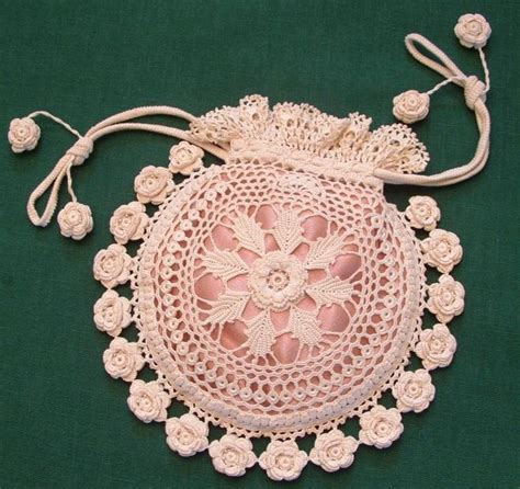 Free Crochet Rose Bag Pattern | rings and roses irish crochet purse by kathyawhi1078834