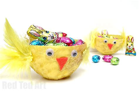 easter basket crafts red ted art s blog chick easter basket red ted art s blog