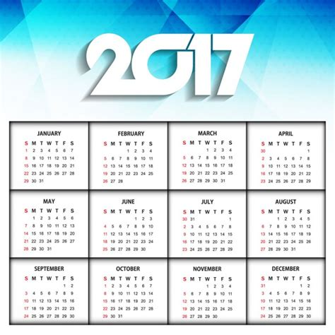 calendar 2017 design new year 2017 modern calendar design vector free download