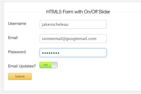 design form in jquery mobile build an html5 form with on off input sliders using jquery