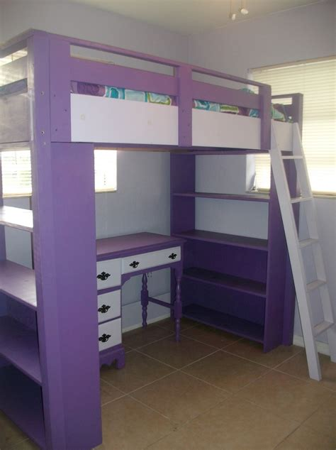 Diy Loft Bed Plans With A Desk Under Purple Loft Bed Loft Bed With Desk Plans