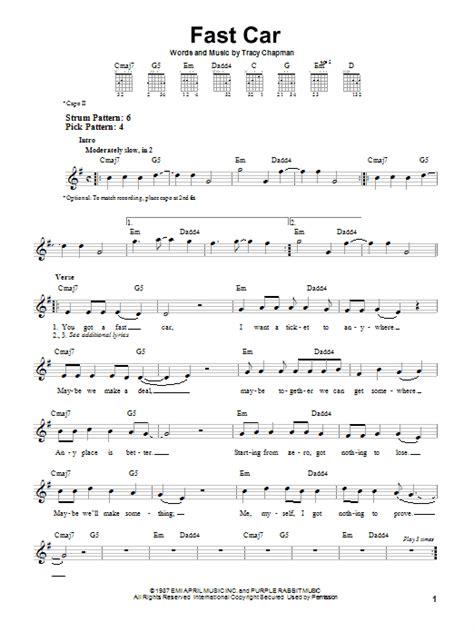 tutorial guitar fast car fast car sheet music direct