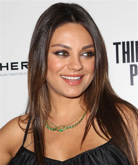 hairstyles for round face and big eyes mila kunis long straight casual hairstyle medium brunette