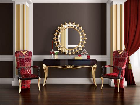 luxury home furnishings and decor spacium console mirror and chairs jetclass real
