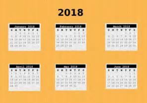 Calendar 2018 6 Month 6 Months 01 2018 A