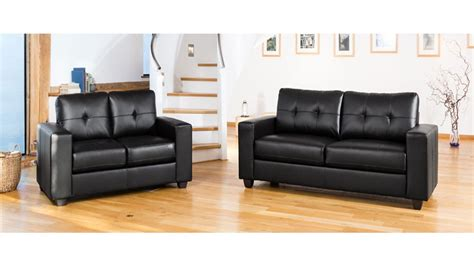 Modern Black Leather Sofa Set Homegenies Modern Black Leather Sofas