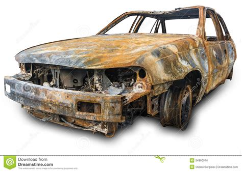 rusty car white background burnout car stock photo image 54880074