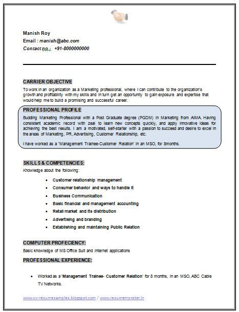 Mba With No Managerial Experience by Professional Curriculum Vitae Resume Template Sle