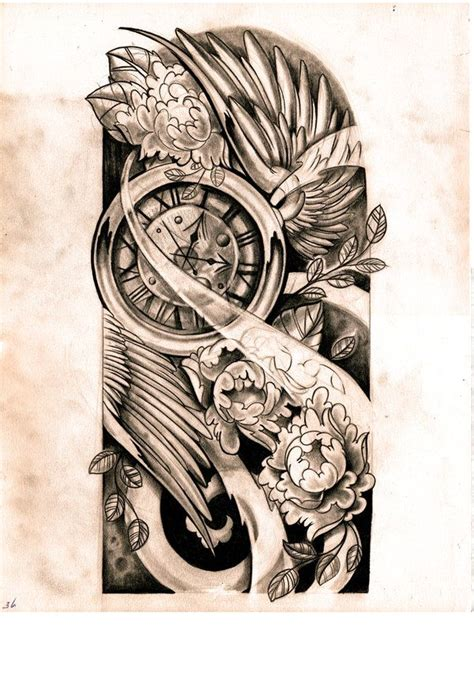 clock half sleeve tattoo designs half sleeve designs drawings sketch by willemxsm