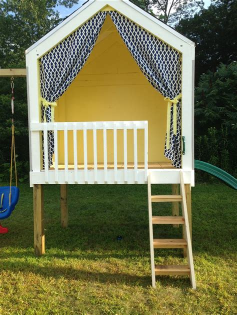 playhouse with swings fort swingset woodworking projects plans