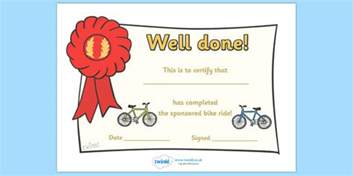 sponsored bike ride certificate certificate award bike