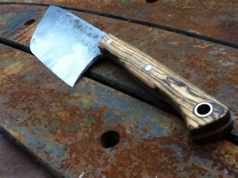 hand forged kitchen knife with cherry handle by shiraforge hand forged broad bladed utility kitchen every knife