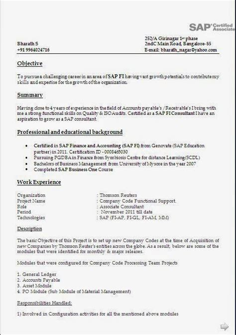 exceptional resume format for 5 years experience in net sap fico resume with 5 years experience