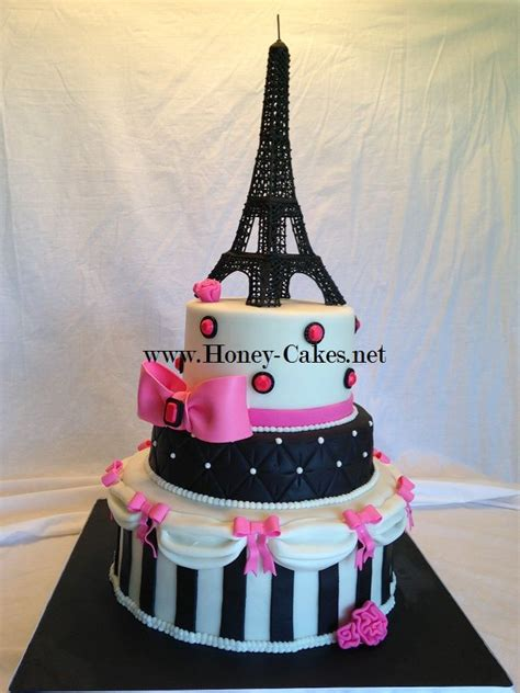 paris themed party entertainment ideas pink and black paris cake with icing eiffel tower torre
