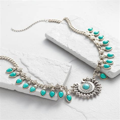Turquoise Statement Necklace silver and turquoise statement necklace world market