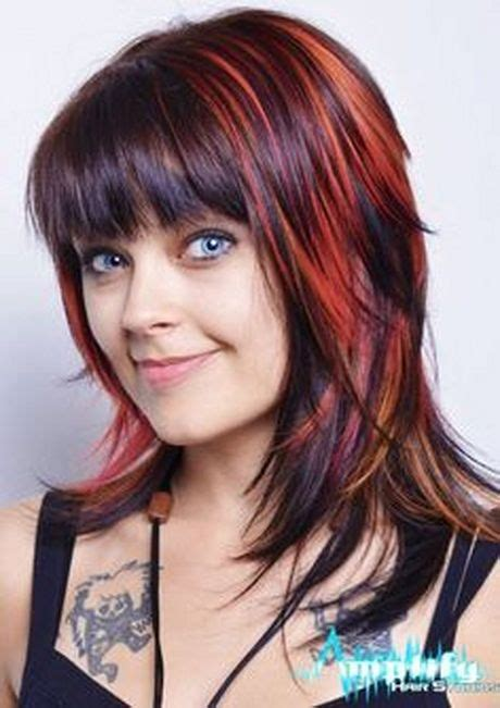 medium hairstyles with chunky bangs color funky