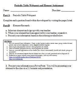 periodic table webquest and element assignment by teach