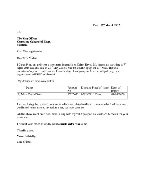 Letter Consulate Visa Application Visa Covering Letter Exle