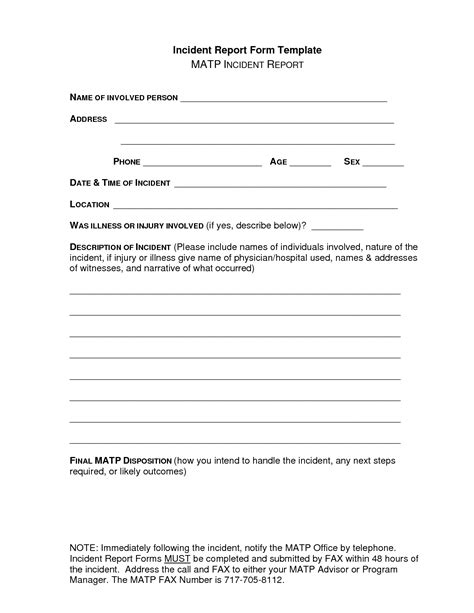school incident report template word 2017