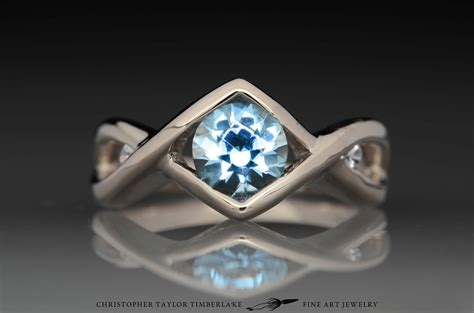 Aquamarine Jewelry by Palladium White Gold Engagement Ring With Aquamarine