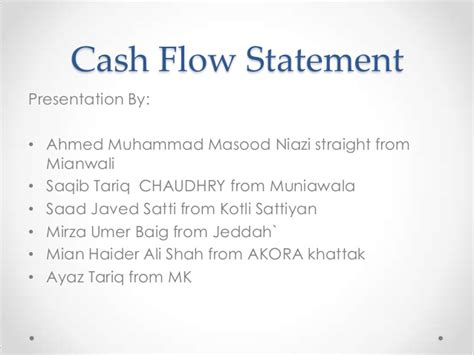 Flow Statement Project Report For Mba by Accounting Project Presentation Flow Statement