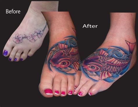 ankle tattoo cover ups koi foot tattoos moose on some of koi onsmall koi