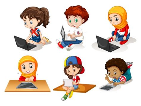 imagenes de niños jugando tablet children using computer and tablet illustration vector