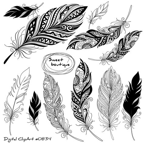 digital feathers feathers digital clipart by