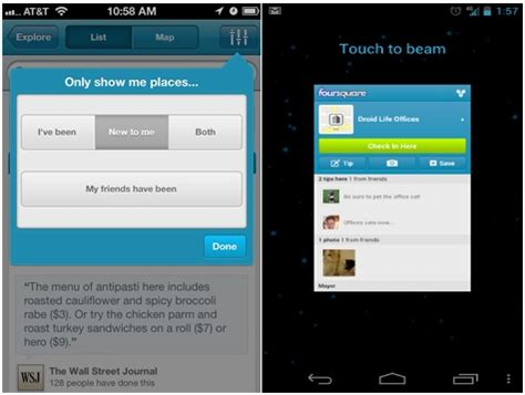 foursquare for android foursquare for android and iphone gets new explore features android app gets nfc beam support