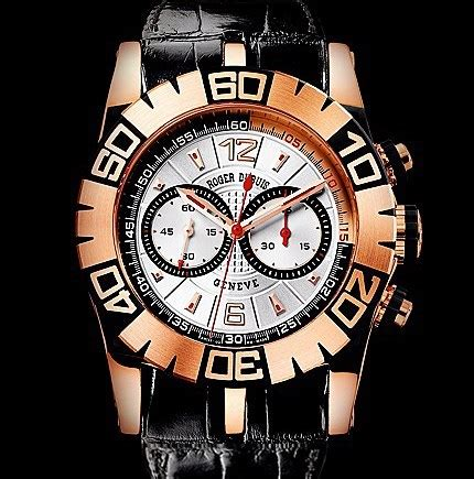 Roger Dubuis Silver Black replica roger dubuis easy diver chronograph pg black