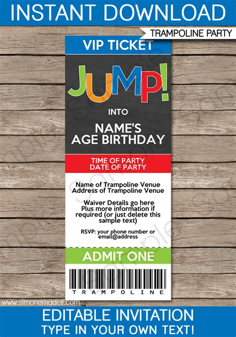 trampoline party ticket invitations birthday party template