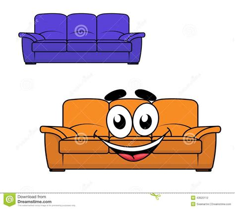 cartoon couch cartoon couch furniture stock vector image 43620112