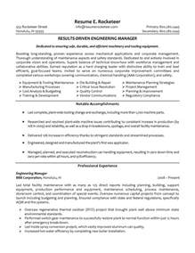 professional resume sles for engineers engineering manager resume