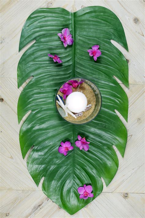 Vase Wedding Centerpiece Ideas Monstera Leaf Tropical Table Runner 30 Quot