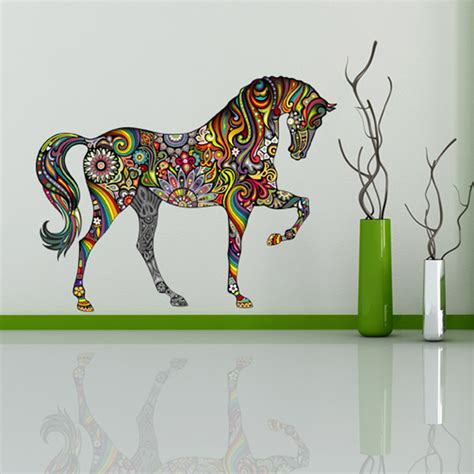 2016 New Design Floral Horse Mural Art Decal Wall For Kids Garden Wall Decals