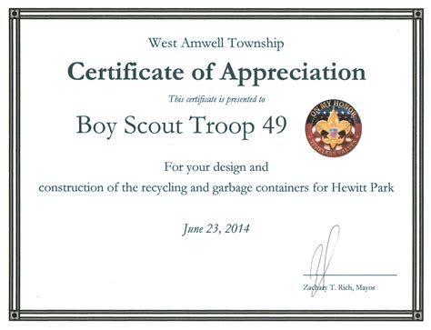 boy scout certificate templates certificate of appreciation cub scouts choice image