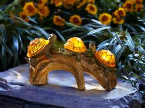 large solar garden lights moonrays turtles on a log