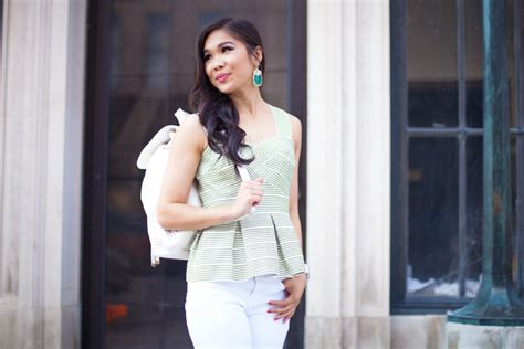 Korean Style Dress Wedges Peplum stripes whites peplum top with a backpack color chic