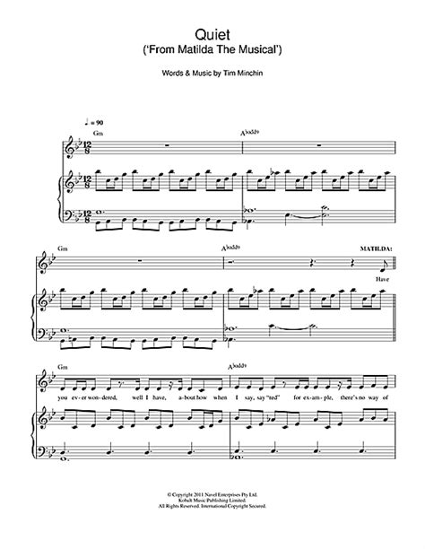 printable lyrics to naughty quiet from matilda the musical sheet music by tim