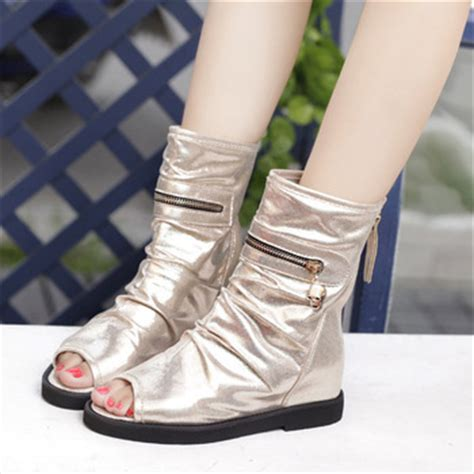 free shipping wholesale autumn open toe boots flat