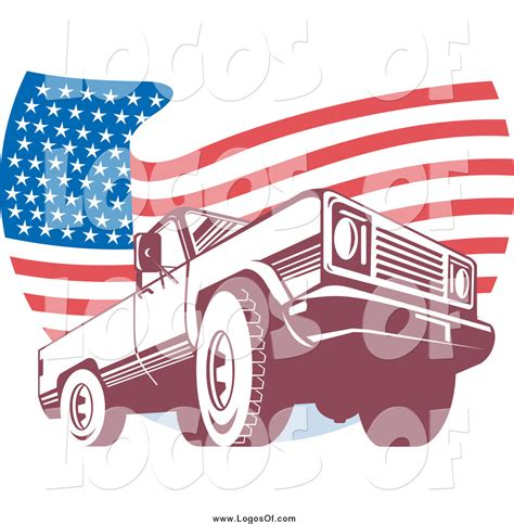 american flag truck vector clipart of a pick up truck over a wavy american